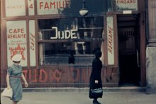 Antisemitic graffiti in Vienna, filmed by an American tourist in 1938. Lafayette P. Monson, courtesy of Getty Images